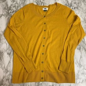 Old Navy Mustard Yellow Crewneck Cardigan